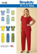 Simplicity Ladies Plus Sizes Easy Sewing Pattern 1446 Easy Pull on Tops, Shorts & Pants