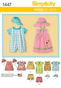 Simplicity Baby Easy Sewing Pattern 1447 Rompers, Dresses, Tops, Shorts & Hats