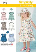 Simplicity Toddlers Easy Sewing Pattern 1449 Summer Dresses & Hat