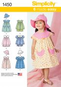 Simplicity Toddlers Easy Sewing Pattern 1450 Dresses, Top, Panties & Hat