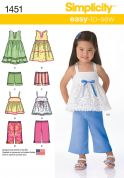 Simplicity Toddlers Easy Sewing Pattern 1451 Dresses, Tops, Shorts & Pants