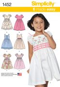 Simplicity Childrens Sewing Pattern 1452 Dresses with Bodice