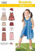 Simplicity Childrens Sewing Pattern 1453 Dresses, Tops, Shorts, Pants & Hat