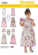 Simplicity Childrens Sewing Pattern 1454 Dresses, Tops, Shorts & Pants