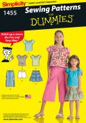 Simplicity Childrens Easy Sewing Pattern 1455 Tops, Skirts, Cropped Pants & Shorts