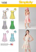 Simplicity Childrens Sewing Pattern 1456 Flared Skirt Dresses & Hat