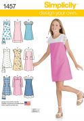 Simplicity Childrens Easy Sewing Pattern 1457 Pullover Dresses & Bag