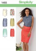 Simplicity Ladies Sewing Pattern 1465 Pencil Skirts in 6 Variations
