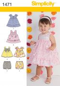 Simplicity Baby & Toddlers Easy Sewing Pattern 1471 Tops, Dresses & Bloomers