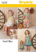 Simplicity Childrens Sewing Pattern 1472 Rompers, Dresses, Pants, Tops & Doll Clothes