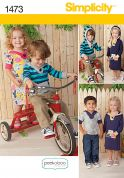Simplicity Childrens Sewing Pattern 1473 Hooded Tops & Dresses