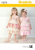 Simplicity Childrens Sewing Pattern 1474 Pretty Lacey Dresses & Headband
