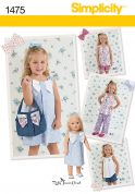 Simplicity Childrens Sewing Pattern 1475 Dresses, Pants, Shorts, Tops, Bags & Doll Clothes