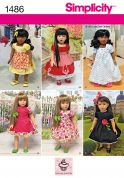 Simplicity Crafts Sewing Pattern 1486 Vintage Style Doll Clothes