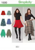 Simplicity Ladies Sewing Pattern 1500 Flared & Asymmetric Skirts