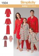 Simplicity Childrens, Teens & Adults Easy Sewing Pattern 1504 Pyjamas