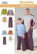Simplicity Mens & Boys Easy Sewing Pattern 1505 Pyjama Tops & Bottoms