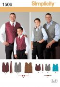 Simplicity Mens & Boys Sewing Pattern 1506 Waistcoats, Ties & Bow Ties