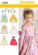 Simplicity Childrens Sewing Pattern 1508 Special Occasion Dresses & Gauntlets