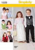 Simplicity Childrens Sewing Pattern 1509 Waistcoat, Bow Tie, Dresses & Bolero