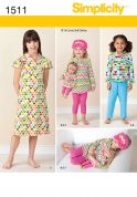 Simplicity Childrens Easy Sewing Pattern 1511 Tops, Dresses, Pants, Eye Mask & Doll Clothes