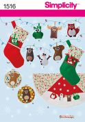 Simplicity Easy Sewing Pattern 1516 Christmas Felt Ornaments, Wall Hangings, Stocking & Tree Skirt