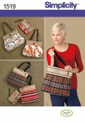 Simplicity Accessories Sewing Pattern 1519 Hand Bags & Clutch
