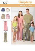 Simplicity Childrens, Teens & Adults Easy Sewing Pattern 1520 Pyjama Bottoms