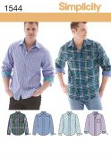 Simplicity Mens Sewing Pattern 1544 Smart Long Sleeve Shirts