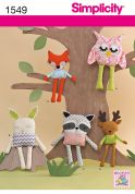 Simplicity Crafts Easy Sewing Pattern 1549 Owl, Bunny, Raccoon, Fox & Reindeer Toys