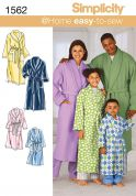 Simplicity Childrens, Teen's & Adults Easy Sewing Pattern 1562 Dressing Gowns