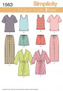 Simplicity Adults & Teenagers Easy Sewing Pattern 1563 Pyjamas & Dressing Gowns