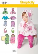 Simplicity Baby & Toddlers Easy Sewing Pattern 1564 Poncho, Top, Pants, Bib, & Blanket Wrap
