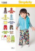 Simplicity Baby & Toddlers Easy Sewing Pattern 1566 Jackets, Tops, Pants, Rompers & Hats