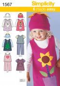 Simplicity Childrens Easy Sewing Pattern 1567 Tops, Dresses, Pants & Hats