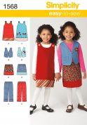 Simplicity Childrens Easy Sewing Pattern 1568 Dress, Waistcoat, Skirt & Pants