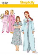 Simplicity Childrens Sewing Pattern 1569 Pyjamas, Nightdress & Dressing Gown