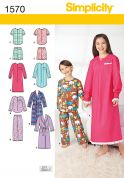 Simplicity Childrens Sewing Pattern 1570 Pyjamas, Nightdress & Dressing Gown