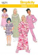 Simplicity Childrens Easy Sewing Pattern 1571 Pyjamas, Nightdress & Dressing Gown