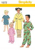 Simplicity Childrens Sewing Pattern 1572 Pyjamas, Onesie & Dressing Gown