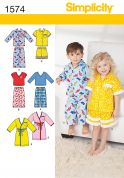 Simplicity Childrens Sewing Pattern 1574 Pyjamas & Dressing Gown