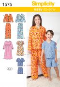 Simplicity Childrens Easy Sewing Pattern 1575 Pyjamas Sleepwear