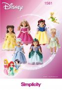 Simplicity Crafts Sewing Pattern 1581 Disney Doll Clothes