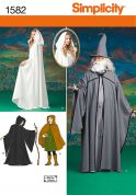 Simplicity Ladies, Men's & Teenagers Sewing Pattern 1582 Hooded Cape Fancy Dress Costumes