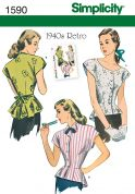 Simplicity Ladies Sewing Pattern 1590 Vintage Style 1940's Blouse Tops