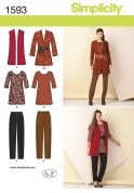 Simplicity Ladies Sewing Pattern 1593 Jackets, Waistcoat, Top & Trouser Pants