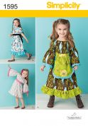 Simplicity Childrens Sewing Pattern 1595 Prairie Style Dresses & Aprons