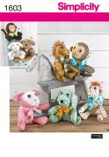 Simplicity Crafts Easy Sewing Pattern 1603 Monkey, Dog, Lamb & Pony Animal Toys