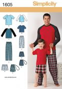 Simplicity Mens & Boys Easy Sewing Pattern 1605 Pyjamas & Drawstring Bag