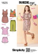 Simplicity Childrens Sewing Pattern 1625 Tops, Dresses, Shorts & Cropped Pants